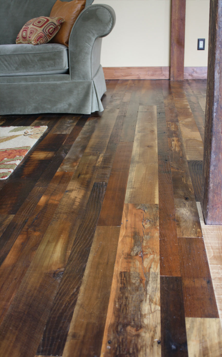 Reclaimed antique flooring homestead distressed for Recycled hardwood