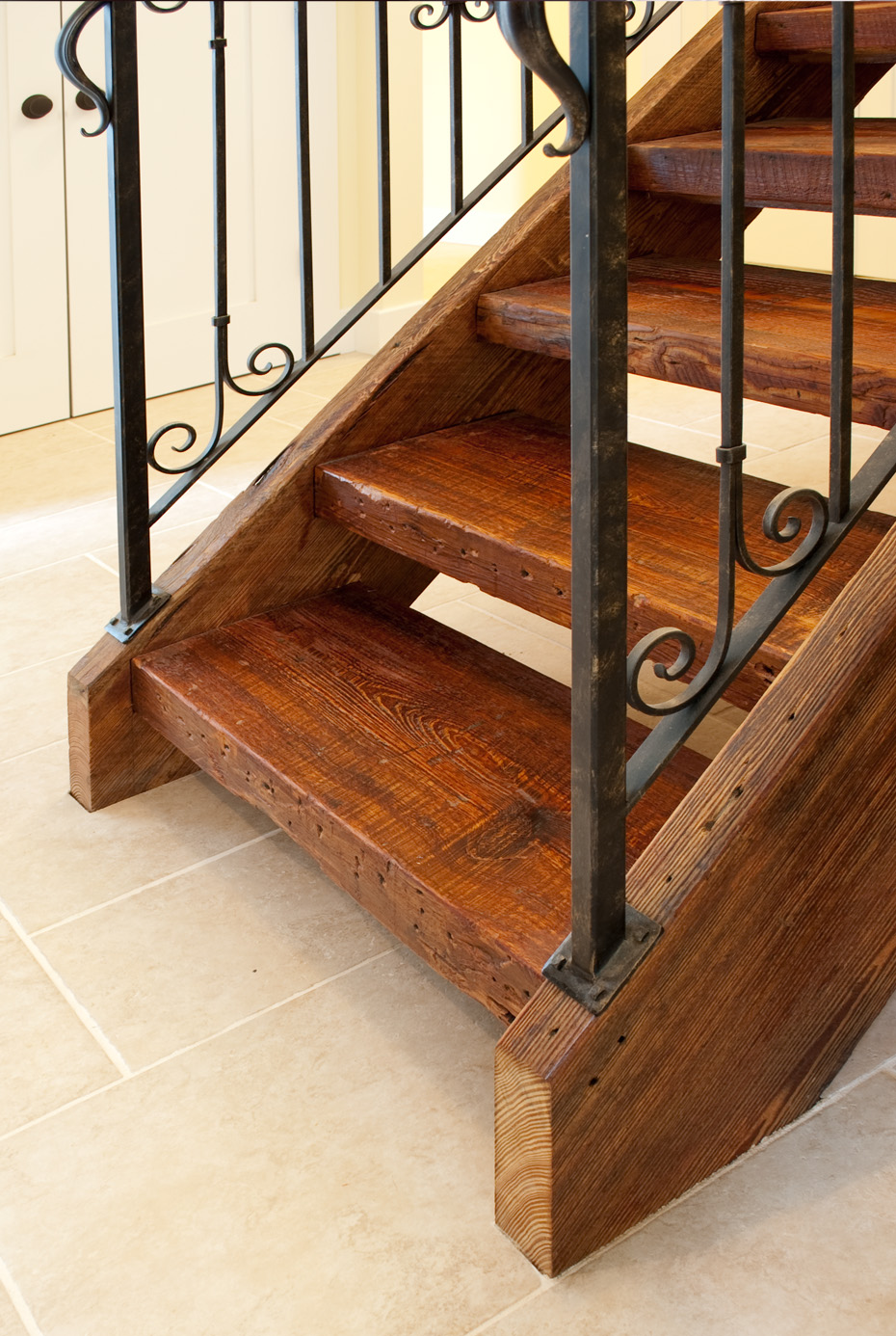 Reclaimed antique wood stair parts mountain lumber company for Reclaimed wood decking