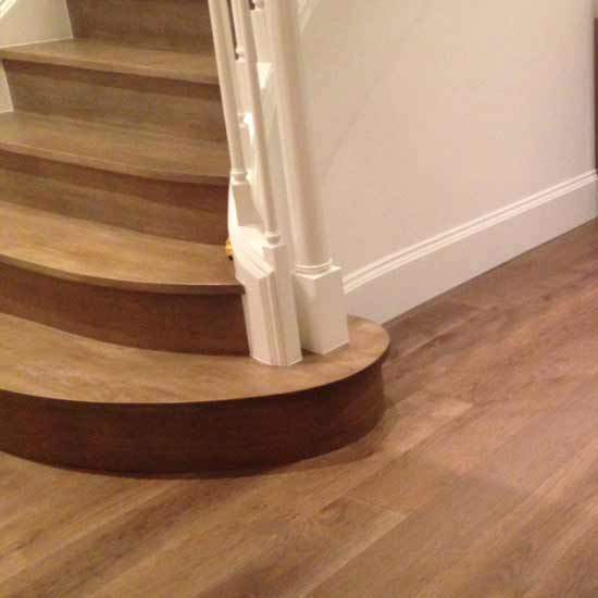 White Oak Flooring and Stair Treads with Custom Finish